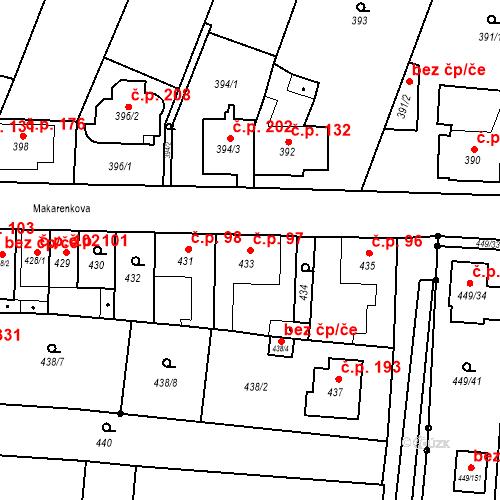 Katastrální mapa Stavební objekt Bystrovany 97, Bystrovany