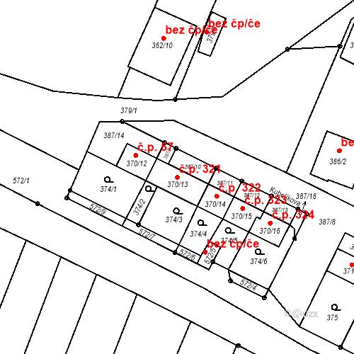 Katastrální mapa Stavební objekt Bystrovany 321, Bystrovany