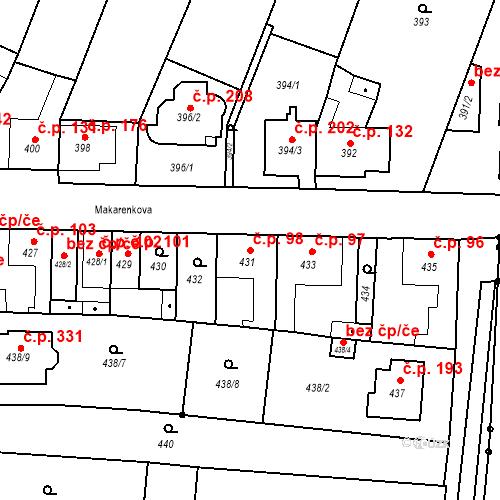 Katastrální mapa Stavební objekt Bystrovany 98, Bystrovany