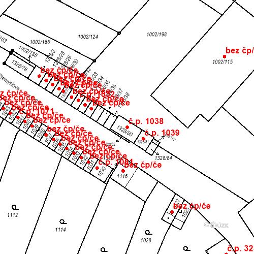 Katastrální mapa Stavební objekt Brodek u Přerova 1038, Brodek u Přerova