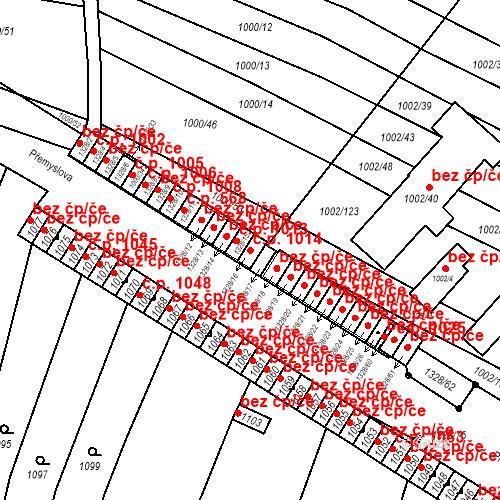 Katastrální mapa Stavební objekt Brodek u Přerova 1014, Brodek u Přerova