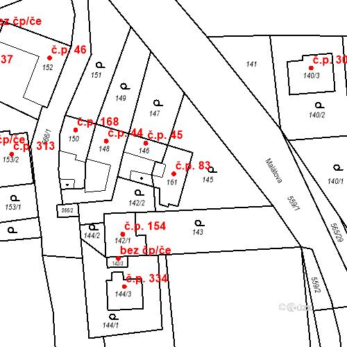 Katastrální mapa Stavební objekt Bystrovany 83, Bystrovany