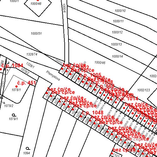 Katastrální mapa Stavební objekt Brodek u Přerova 1005, Brodek u Přerova