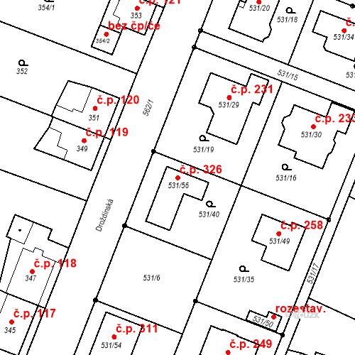 Katastrální mapa Stavební objekt Bystrovany 326, Bystrovany