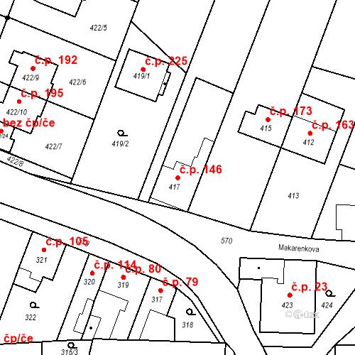 Katastrální mapa Stavební objekt Bystrovany 146, Bystrovany
