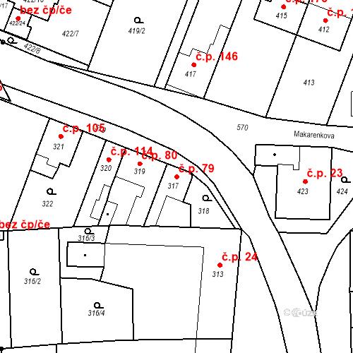 Katastrální mapa Stavební objekt Bystrovany 79, Bystrovany
