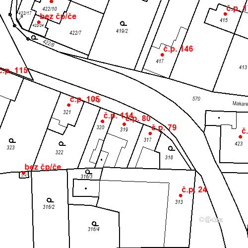 Katastrální mapa Stavební objekt Bystrovany 80, Bystrovany