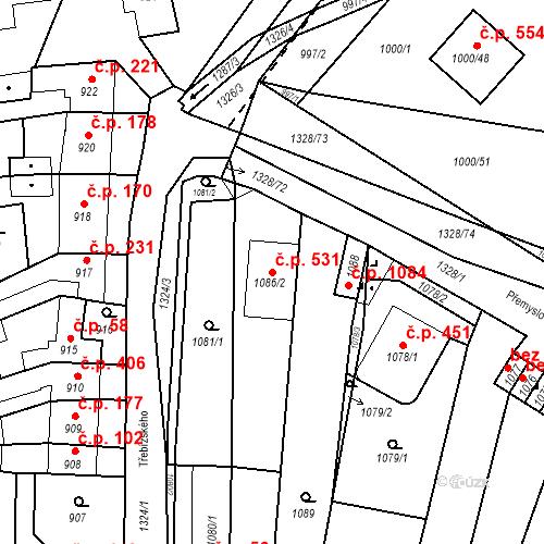 Katastrální mapa Stavební objekt Brodek u Přerova 531, Brodek u Přerova