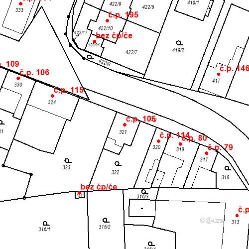Katastrální mapa Stavební objekt Bystrovany 105, Bystrovany