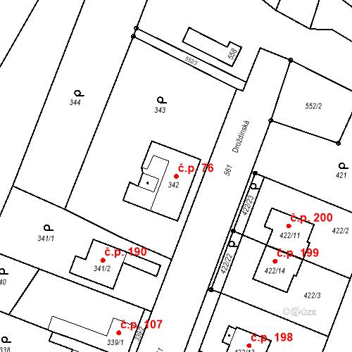 Katastrální mapa Stavební objekt Bystrovany 76, Bystrovany