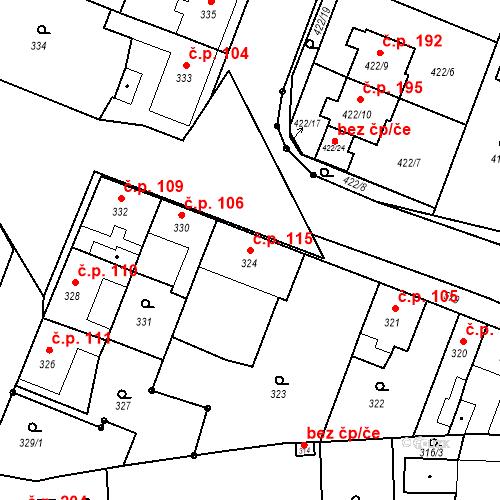 Katastrální mapa Stavební objekt Bystrovany 115, Bystrovany