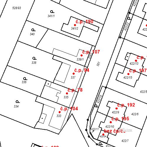Katastrální mapa Stavební objekt Bystrovany 94, Bystrovany