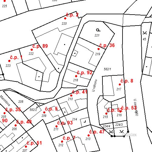 Katastrální mapa Stavební objekt Bystrovany 92, Bystrovany