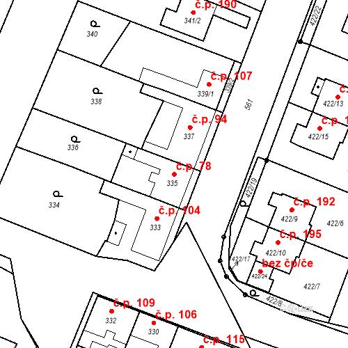 Katastrální mapa Stavební objekt Bystrovany 78, Bystrovany