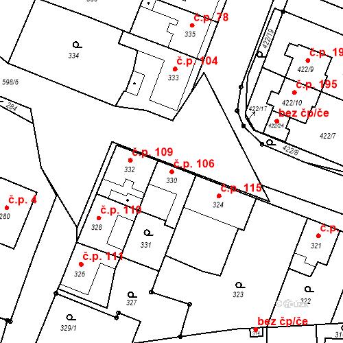 Katastrální mapa Stavební objekt Bystrovany 106, Bystrovany