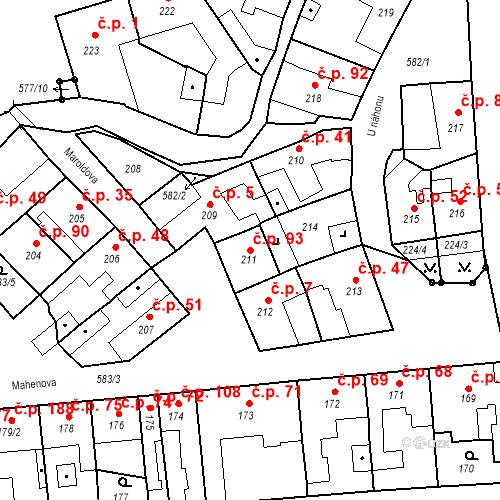 Katastrální mapa Stavební objekt Bystrovany 93, Bystrovany
