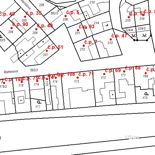 Katastrální mapa Stavební objekt Bystrovany 71, Bystrovany