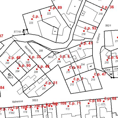 Katastrální mapa Stavební objekt Bystrovany 5, Bystrovany