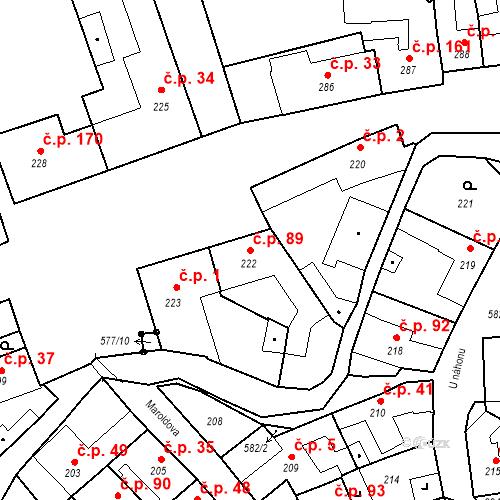 Katastrální mapa Stavební objekt Bystrovany 89, Bystrovany