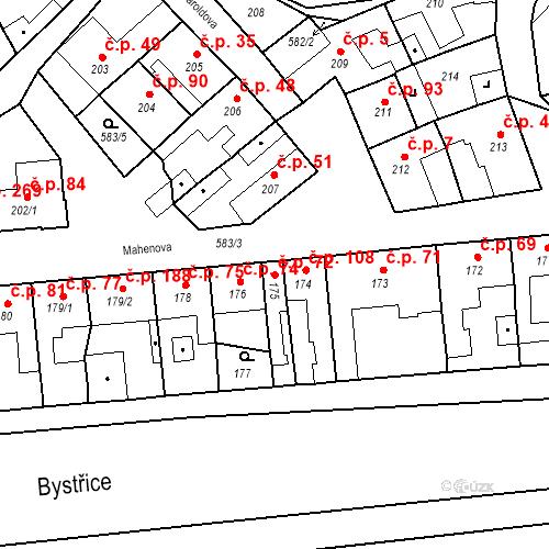 Katastrální mapa Stavební objekt Bystrovany 72, Bystrovany