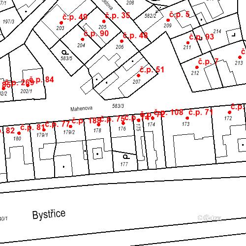 Katastrální mapa Stavební objekt Bystrovany 74, Bystrovany