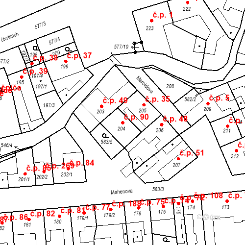 Katastrální mapa Stavební objekt Bystrovany 90, Bystrovany