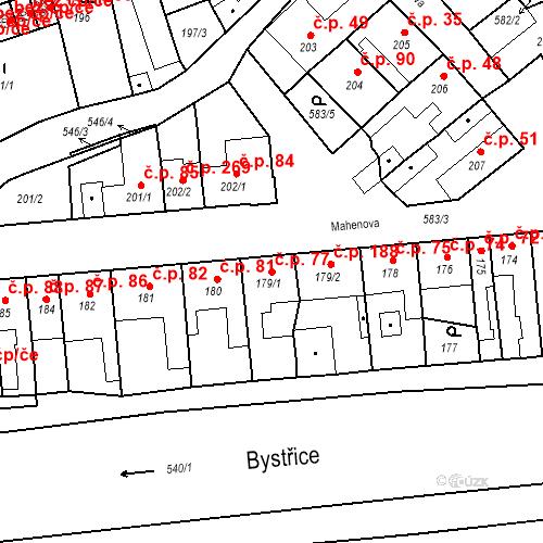 Katastrální mapa Stavební objekt Bystrovany 77, Bystrovany