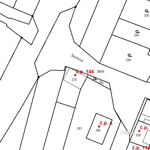 Katastrální mapa Stavební objekt Bystrovany 144, Bystrovany