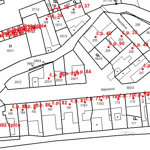 Katastrální mapa Stavební objekt Bystrovany 84, Bystrovany
