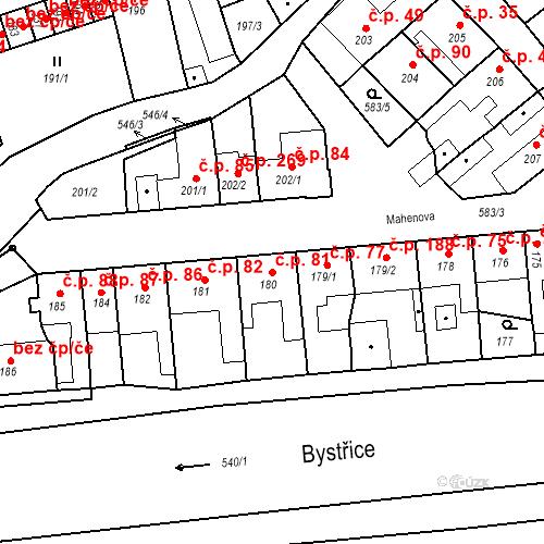 Katastrální mapa Stavební objekt Bystrovany 81, Bystrovany
