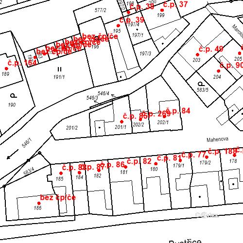 Katastrální mapa Stavební objekt Bystrovany 85, Bystrovany