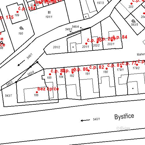 Katastrální mapa Stavební objekt Bystrovany 86, Bystrovany