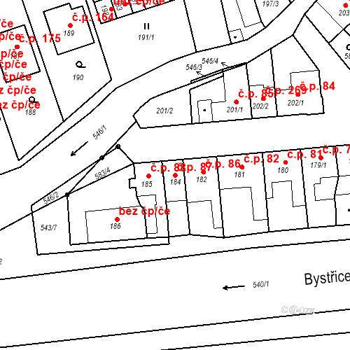 Katastrální mapa Stavební objekt Bystrovany 87, Bystrovany