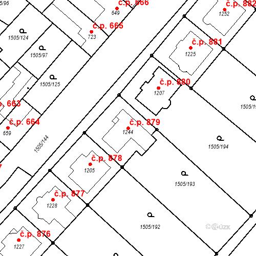 Katastrální mapa Stavební objekt Ostrožské Předměstí 879, Uherský Ostroh