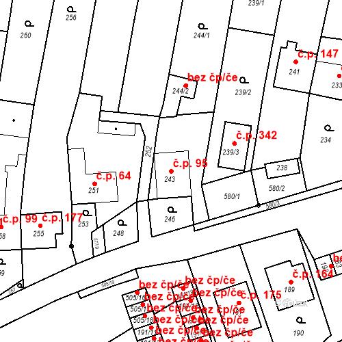 Katastrální mapa Stavební objekt Bystrovany 95, Bystrovany