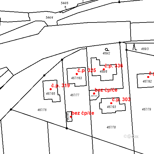 Katastrální mapa Stavební objekt Bystrovany 325, Bystrovany