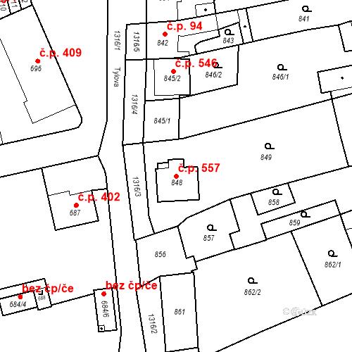 Katastrální mapa Stavební objekt Brodek u Přerova 557, Brodek u Přerova