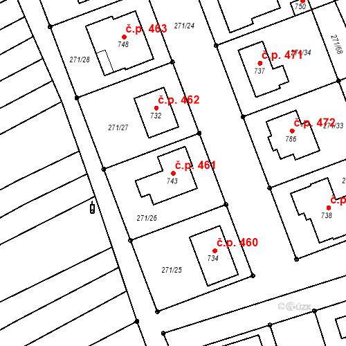 Katastrální mapa Stavební objekt Hroznová Lhota 461, Hroznová Lhota