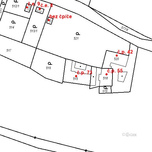 Katastrální mapa Stavební objekt Bystrovany 73, Bystrovany