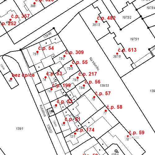 Katastrální mapa Stavební objekt Chválkovice 217, Olomouc
