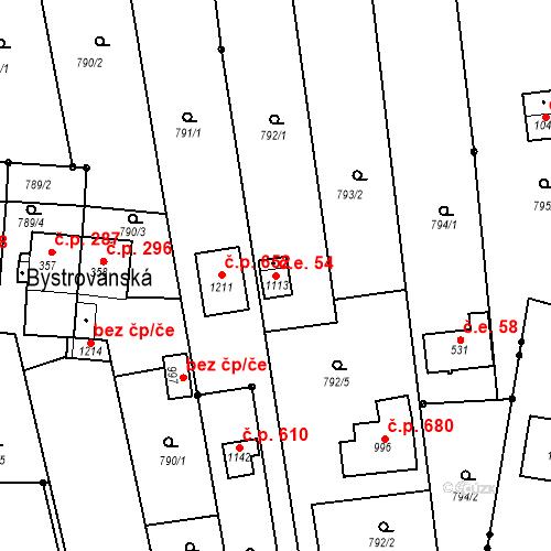 Katastrální mapa Stavební objekt Chválkovice 54, Olomouc