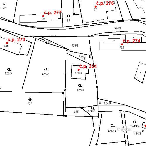 Katastrální mapa Stavební objekt Řídeč 324, Řídeč
