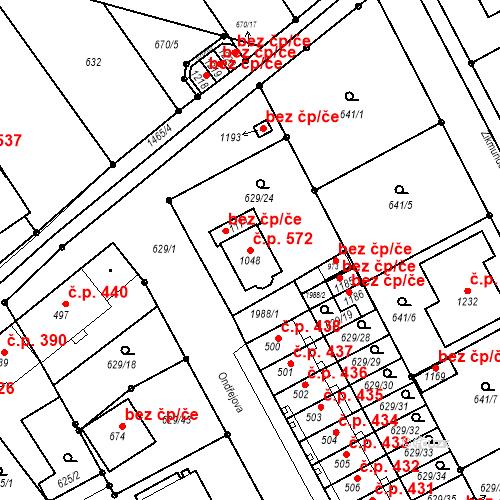 Katastrální mapa Stavební objekt Chválkovice 572, Olomouc