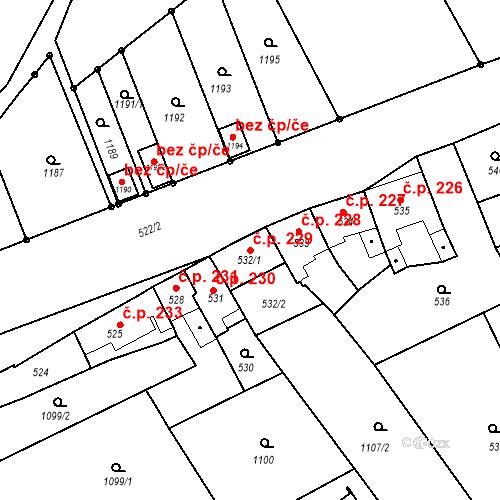 Katastrální mapa Stavební objekt Věrovany 229, Věrovany