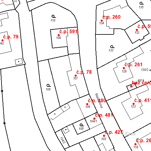Katastrální mapa Stavební objekt Buchlovice 78, Buchlovice