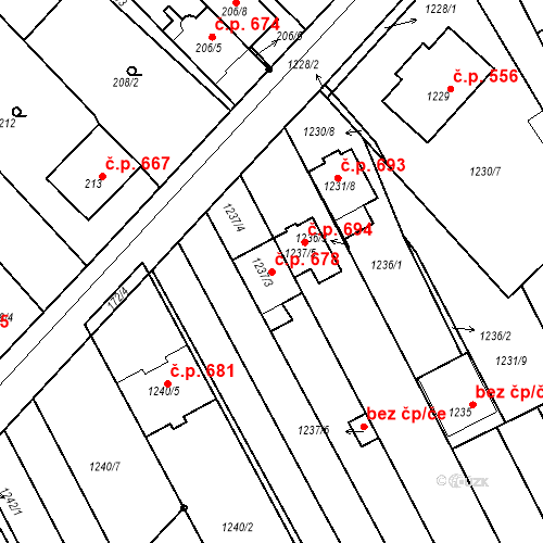 Katastrální mapa Stavební objekt Vnorovy 678, Vnorovy