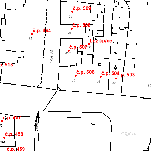 Katastrální mapa Stavební objekt Olomouc 506, Olomouc