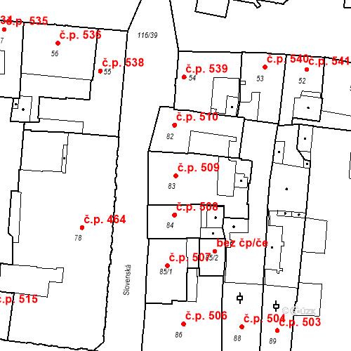 Katastrální mapa Stavební objekt Olomouc 509, Olomouc