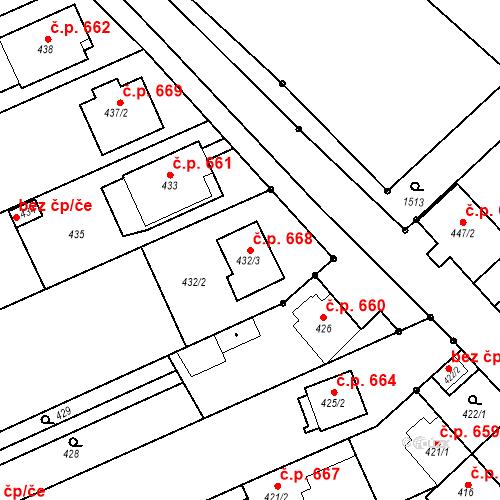 Katastrální mapa Stavební objekt Bolelouc 668, Dub nad Moravou