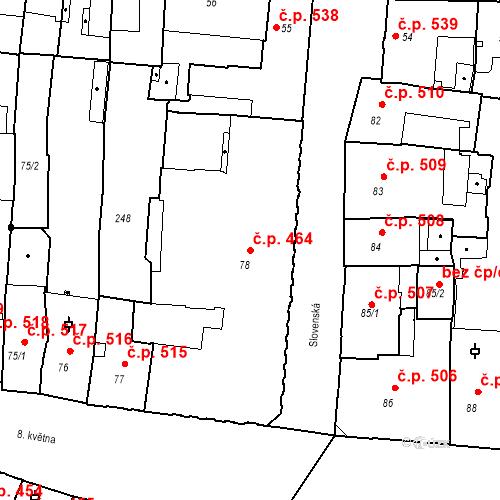Katastrální mapa Stavební objekt Olomouc 464, Olomouc
